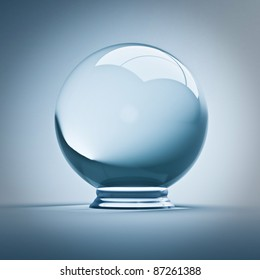 fine render 3d of empty crystal ball
