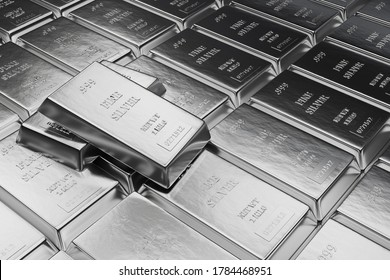 Fine Silver bars or ingots in bank vault background. Precious metal.3d illustration