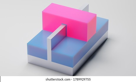 FINFET transistor 3D render. Fin FET transistor used for building semiconductor chips and integrated circuits at nano scale. Pink - Gate, blue - Insulator, silver - Substrate.