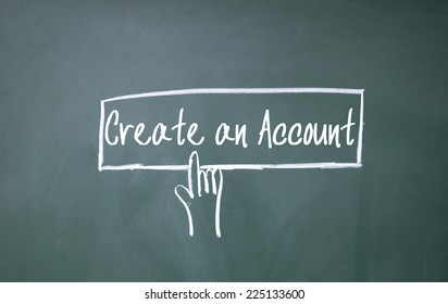 finger click create an account symbol on blackboard