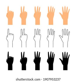 Finger count. Hand counting isolated on white background. People finger numbers countdown set