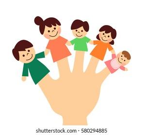 Finger doll. family