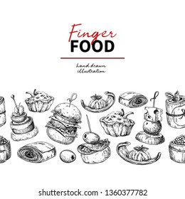 Finger food drawing. Catering service template for flyer, banner, poster. Seamless pattern. Canape and snack engraved illustration. Restaurant or buffet menu. Appetizer sketch.