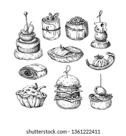 Finger food drawings. Food appetizer and snack sketch. Canapes, bruschetta, sandwich for buffet, restaurant, catering service. Tapas engraved illustration. Great for banner, poster, label