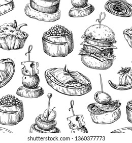 Finger food seamless pattern. Food appetizer and snack sketch. Canapes, bruschetta, sandwich drawing for buffet, restaurant, catering service. Tapas engraved illustration.