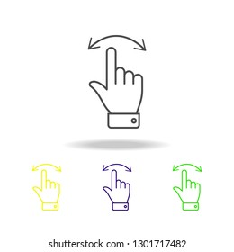 Finger, gesture, hand, move, left, right, swipe colored outline icons. Can be used for web, logo, mobile app, UI, UX