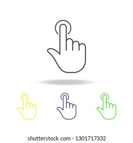 Finger, gesture, hand, one, tap colored outline icons. Can be used for web, logo, mobile app, UI, UX