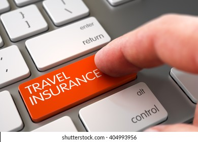 Finger Pushing Travel Insurance Button on Aluminum Keyboard. Business Concept - Male Finger Pointing Travel Insurance Key on Laptop Keyboard. 3D Illustration.