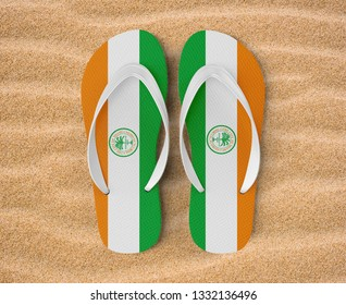Finger sandal or slipper, in 3d illustration, city of Miami, Florida, on the beach, model in Hawaiian style, rubber, comfortable for all day or leisure, make your trend, your model, your fashion