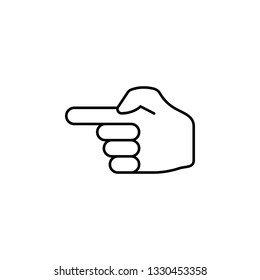 finger show left gesture outline icon. Signs and symbols can be used for web, logo, mobile app, UI, UX
