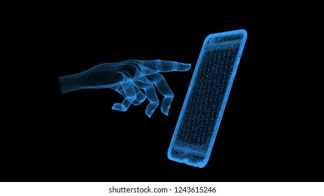 finger stretches to the screen of the smartphone, an illustration of particles on a black background