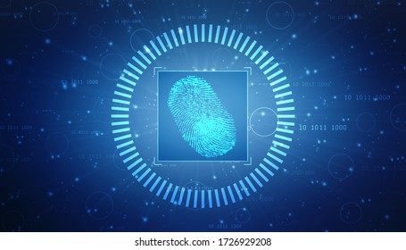 Fingerprint integrated in a printed circuit, releasing binary codes. fingerprint Scanning Identification System. Biometric Authorization and Business Security Concept