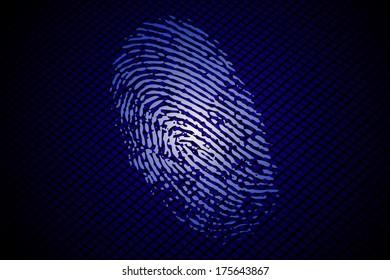 Fingerprint on a blue abstract pattern/Fingerprint on blue background/Illustration design