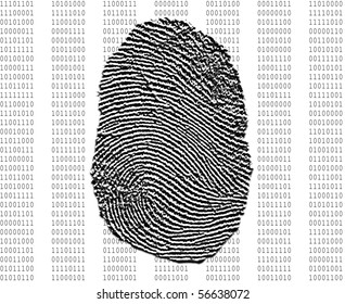 Fingerprint over background of binary numbers