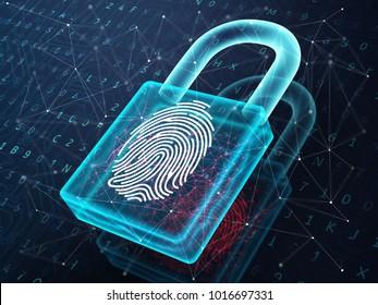 Fingerprint and padlock on digital screen, symbolise unlock process. 3D illustration.