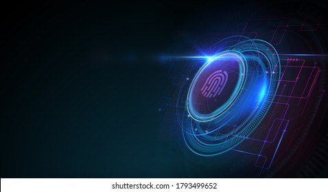 Fingerprint scan provides security.  Business, technology, internet and networking concept.  3D illustration.