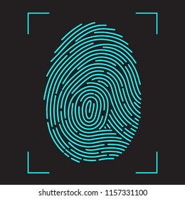 Finger-print Scanning Identification System. Biometric Authorization and Business Security Concept. illustration in flat style Raster version.