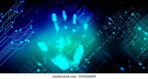 Fingerprint Scanning Technology Concept 2d Illustration