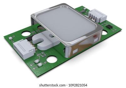 Fingerprint sensor module isolated on white. 3d rendering