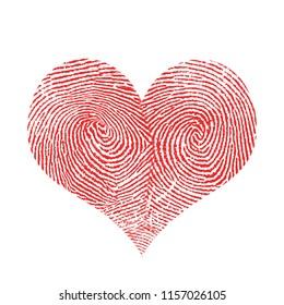 Fingerprint in shape of heart. 3D rendering
