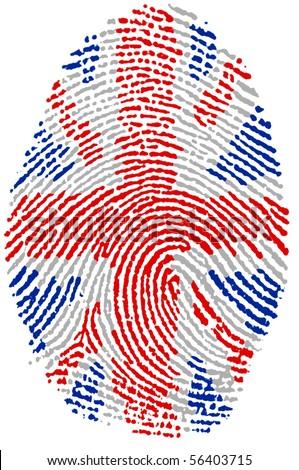 Fingerprint Stamp On White Paper For UK Flag