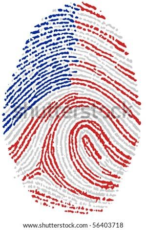 Fingerprint Stamp On White Paper For USA Flag
