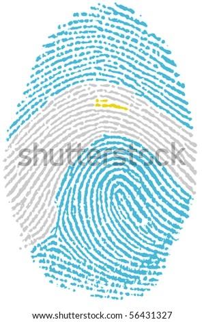 Fingerprint Stamp On White Paper For Argentina Flag