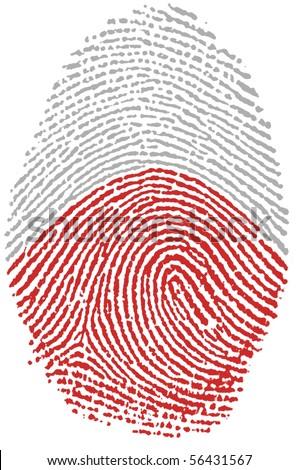 Fingerprint Stamp On White Paper For Poland Flag