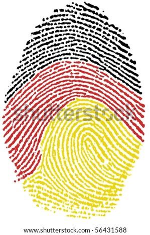 Fingerprint Stamp On White Paper For German Flag