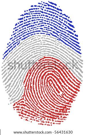 Fingerprint Stamp On White Paper For France Flag