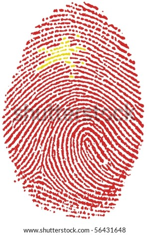 Fingerprint Stamp On White Paper For China Flag