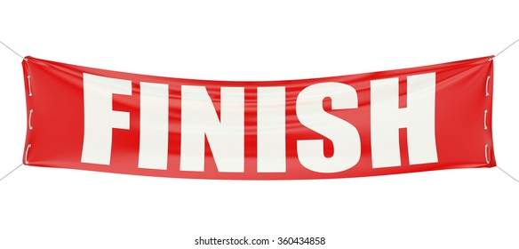finish concept on the red banner  isolated on white background