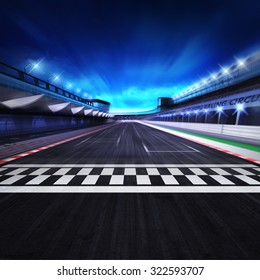 finish line on the racetrack in motion blur with stadium and spotlights, racing sport digital background illustration