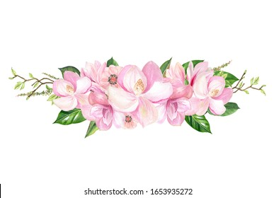 finished image of the footer decoration with pink Magnolia flowers, watercolor