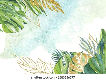 finished image of a postcard framed with green leaves of palm trees, monsters, Golden twigs and Golden palm trees on a blue-green background, watercolor