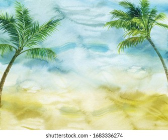 finished image of two palm trees on a blue and yellow background, watercolor
