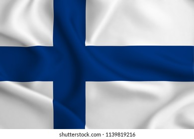 Finland 3D waving flag illustration. Texture can be used as background.