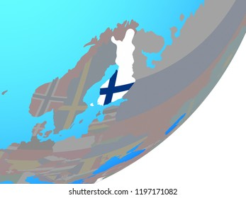 Finland with embedded national flag on blue political globe. 3D illustration.