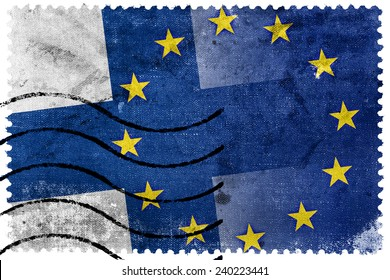 Finland and European Union Flag - old postage stamp