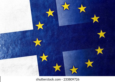 Finland and European Union Flag painted on leather texture