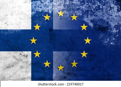 Finland and European Union Flag with a vintage and old look