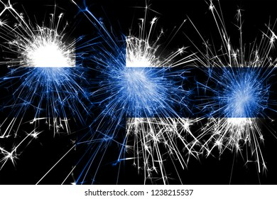 Finland fireworks sparkling flag. New Year, Christmas and National day concept