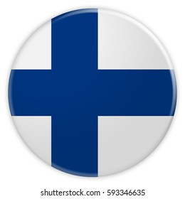 Finland Flag Button, 3d illustration on white background