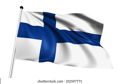 Finland flag with fabric structure on white background