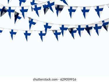 Finland flag festive bunting against a plain background. 3D Rendering