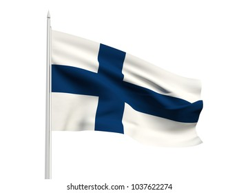 Finland flag floating in the wind with a White sky background. 3D illustration.