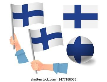 Finland flag in hand set. Ball flag. National flag of Finland  illustration
