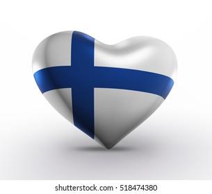 Finland Flag Heart Shape, Finnish Background (3D Render)