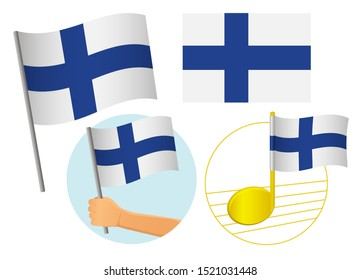 Finland flag icon set. National flag of Finland  illustration