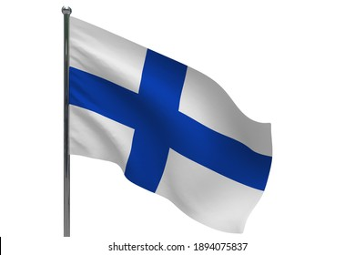 Finland flag on pole. Metal flagpole. National flag of Finland 3D illustration isolated on white